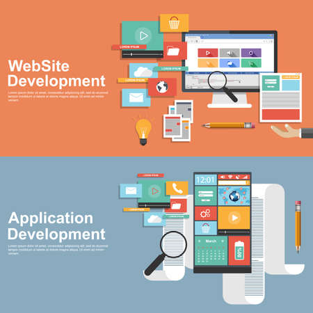 logo marketing: Flat design concept for development websites and apps Illustration