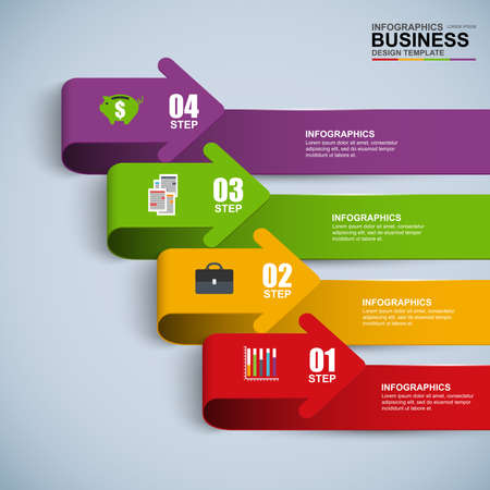 arrow sign: Abstract 3D digital business arrow Infographic