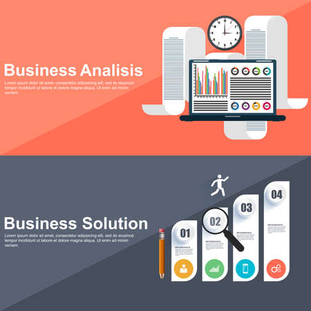 solution: Flat design concepts for strategic analisis and business solution