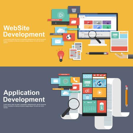 mobile apps: Flat design concept for development websites and apps Illustration
