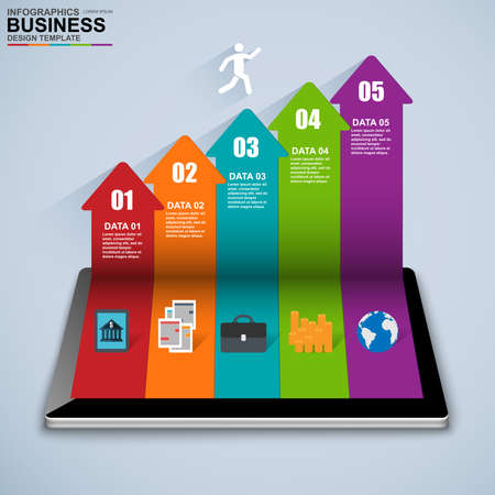 Abstract 3D isometric business Infographic Illustration