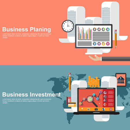 Flat design concepts for business planning and global investment