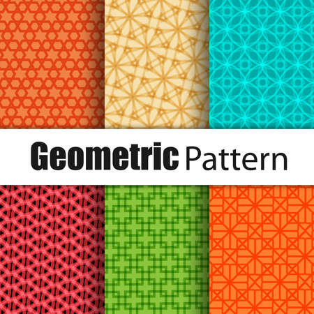 vector fabric: Set of geometric vector patterns Illustration