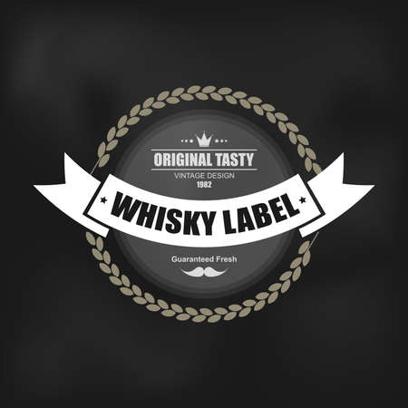 Whiskey label design with decoration and ribbon. Can be used for design elements  logos labels and packaging web design. Vector