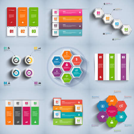 Set of abstract 3D digital business Infographic. Can be used for workflow layout banner diagram number options web design. Vector