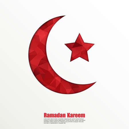 ramadan kareem: Geometric crescent moon and star on white background for holy month of muslim community Ramadan Kareem. Illustration