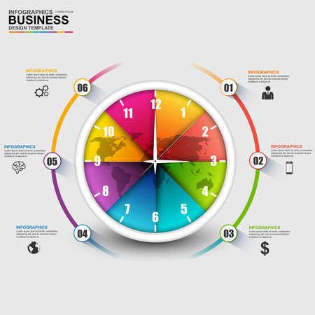 Abstract 3D digital business Infographic Vector