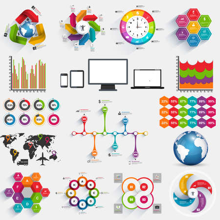 Collection of infographics vector design template. Can be used for workflow layout banner diagram number options step up options web design. Vector