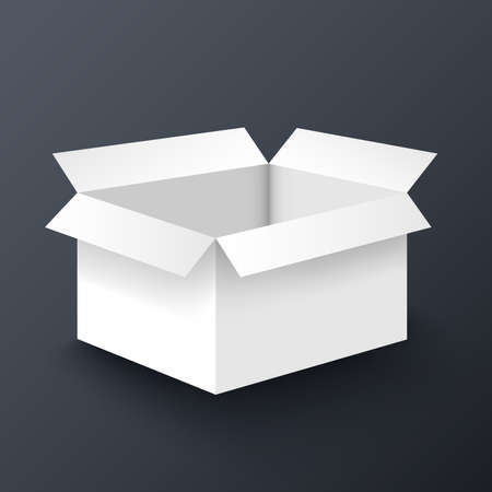 box: Open white box mockup design template Illustration