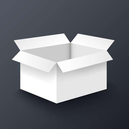 shipped: Open white box mockup design template Illustration