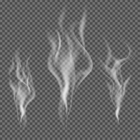humo: Vector de humo realista en el fondo transparente