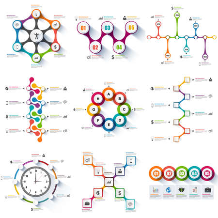 timeline: Set of infographics vector design template