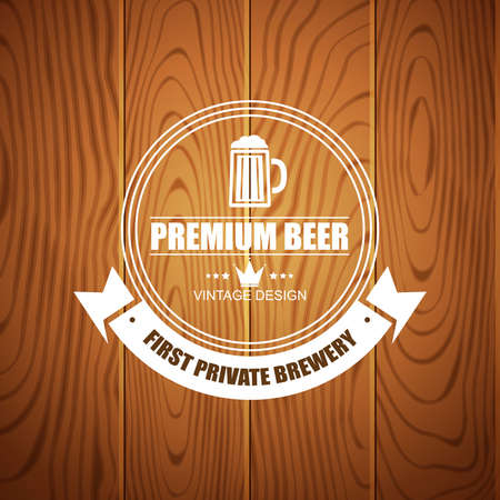 beer house: Beer logotype for beer house brewing company restaurant pub bar on wood background