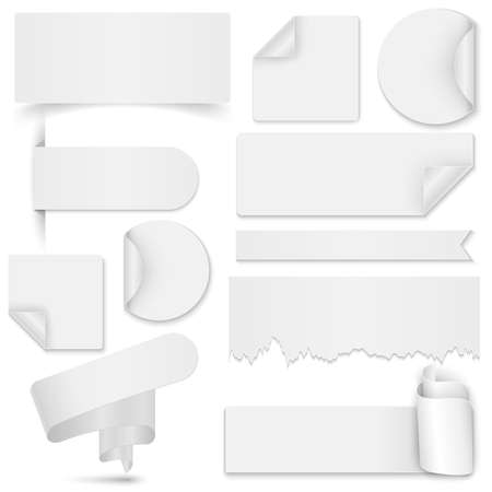 Set of white paper stickers and banners on white background. Round square rectangular torn twisted vector design template Vector