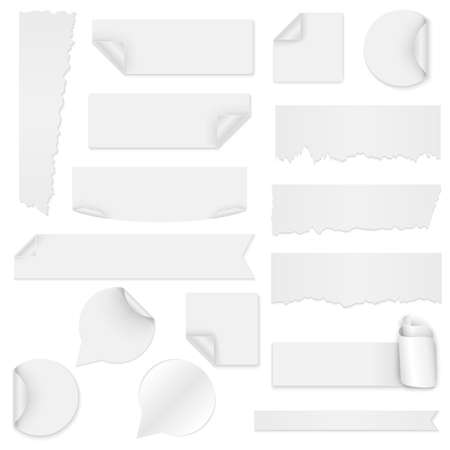 peel: Set of white paper stickers on white background Illustration