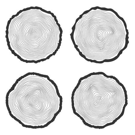 Set van vier vector boomringen achtergrond en zaagsnede boomstam
