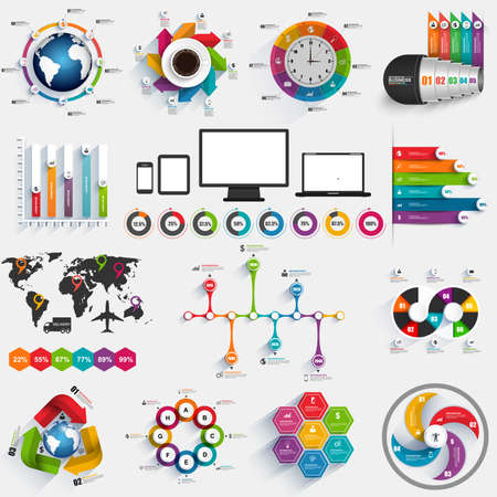 3d circle: Collection of infographic vector design template