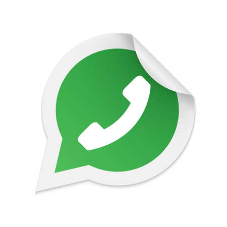 Green phone handset in speech bubble icon Çizim