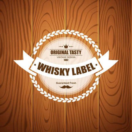 whisky bottle: Whiskey label design with wood background. Can be used for design elements, logos, labels and packaging web design.