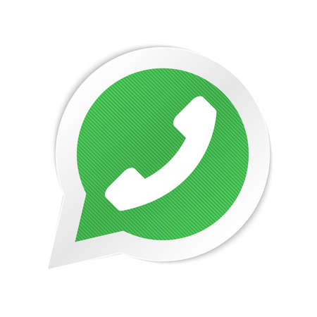 Green phone handset in speech bubble icon Ilustração