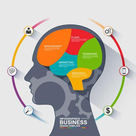 Infographics brain vector design template Vectores