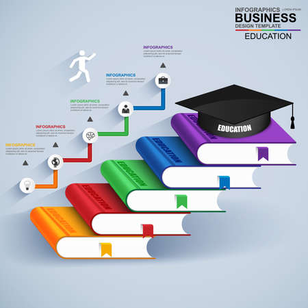 Infographics education staircase success vector design template