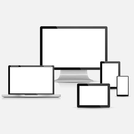 Set of realistic vector laptop, tablet computer, monitor and mobile phone template