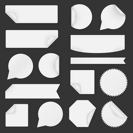 peel: Set of white paper stickers on black background