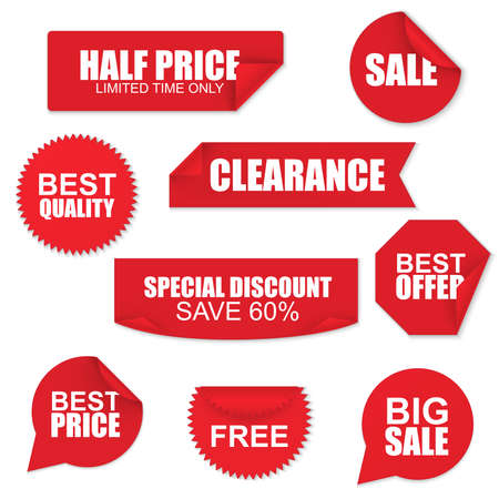 fold: Set of red paper sale stickers on white background
