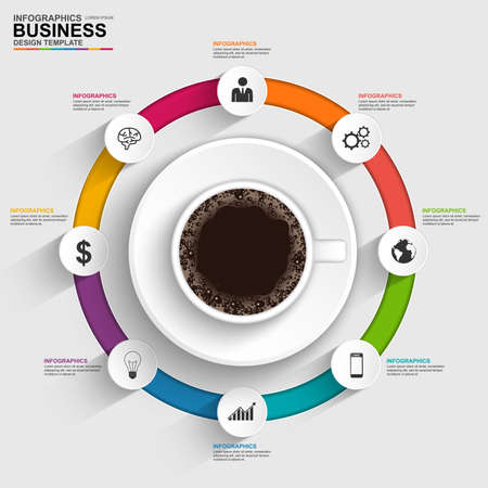 vector web design elements: Abstract 3D digital business timeline Infographic