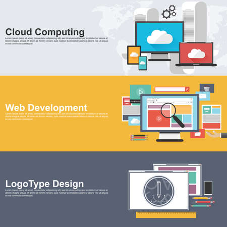 web design company: Flat design concepts for cloud computing, web development and logo design