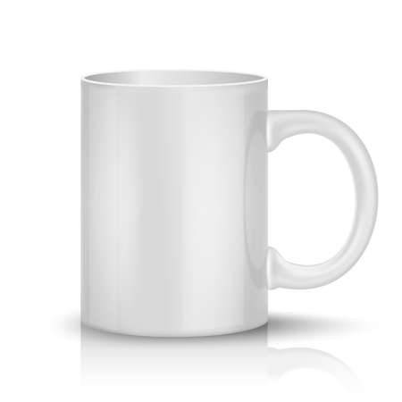 white coffee: Realistic classic white cup