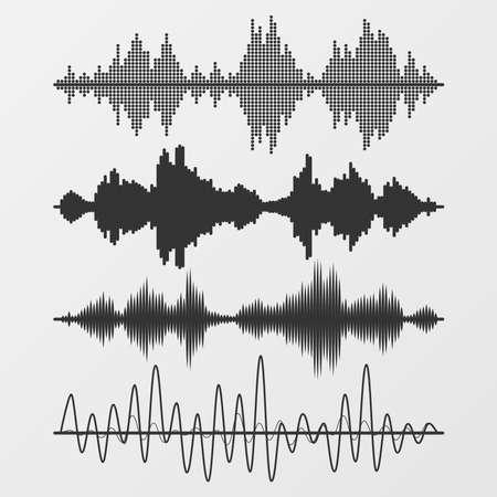 sonido: Conjunto de ondas de sonido vector Vectores