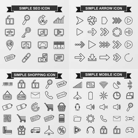 web store: Collection simple vector icons for seo, arrow, shoping, mobile Illustration