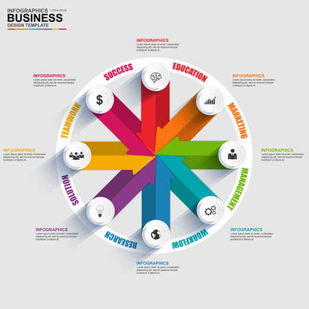 global strategy: Abstract 3D digital business arrow diagram Infographic