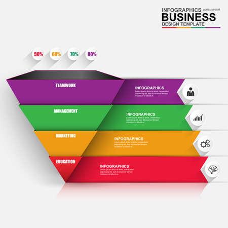 diagrama de procesos: Resumen pirámide de negocio digital 3D Infografía. Puede ser utilizado para procesos de flujo de trabajo, diagrama, opciones numéricas, plan de trabajo, diseño de páginas web. Vectores