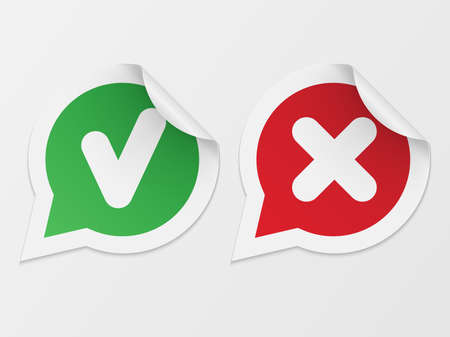 Stickers with consent and denial on white background Illustration