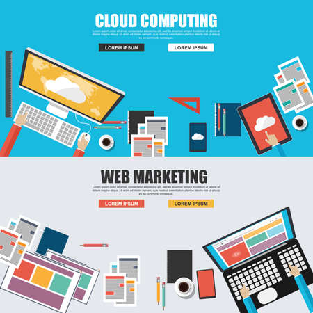 website design: Flat design concepts for cloud computing and web marketing top view