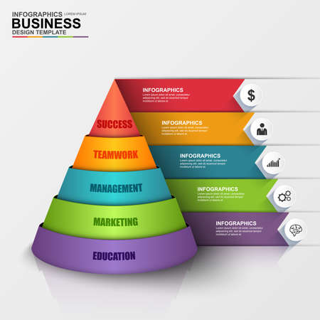 process chart: Abstract 3D digital business Infographic
