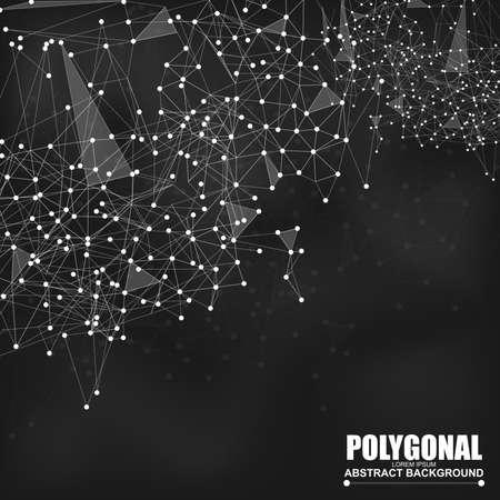 arte abstracto: Resumen alambre malla poligonal fondo con líneas y puntos conectados Vectores