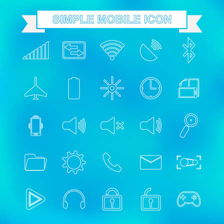 Outline mobile icon with unfocused background