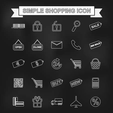 web shopping: Set of outline shopping, e-commerce web icons for graphic and web design