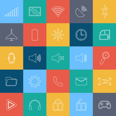 Flat outline mobile icon with background