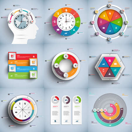 インフォ グラフィック ベクトル デザイン テンプレート集