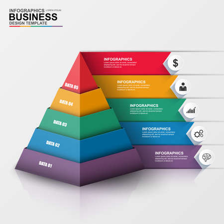 info chart: Abstract 3D digital business Infographic