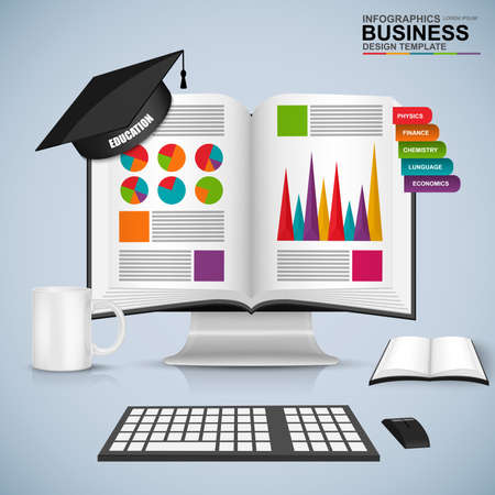 student's: Abstract 3D business book education infographic
