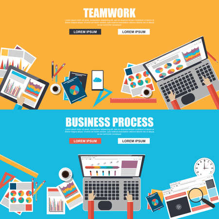 Flat design concepts for business process and teamwork