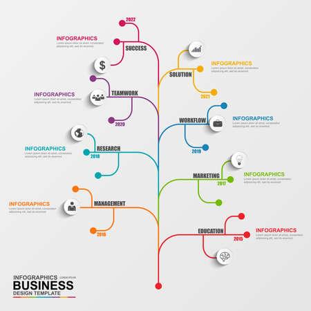 diagrama de arbol: Árbol Infografía plantilla de diseño vectorial