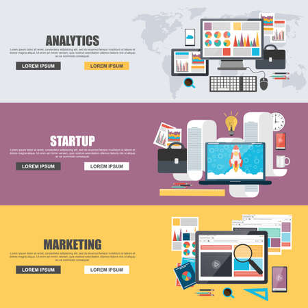 Flat design concepts for business marketing, analytics and startup