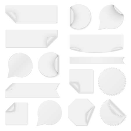Collection of white paper stickers
